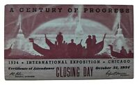 1934 Chicago World's Fair Century of Progress Certificate of Attendance Last Day