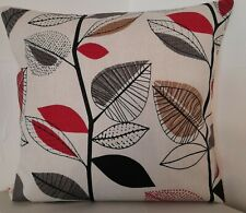 CUSHION COVERS RETRO AUTUMN LEAVES BEIGE RED BLACK BROWN FAWN SCATTER COVERS