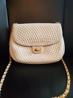 BALLY Vintage Italian HandBag Quilted Patent Ivory Leather Crossbody Purse