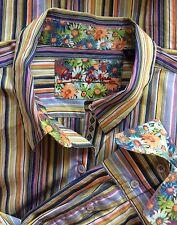 Robert Graham Yellow Striped Button Down Blouse 12 Blue Floral Contrast Cuffs L