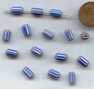 18 VINTAGE HANDMADE GLASS BLUE WHITE RED STAR CHEVRON TUBE TRADE BEADS 210A