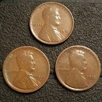 1910 1913-D 1918-D Lincoln Wheat Cent Penny 1c AU XF Fine Better Dates Coin PL3