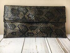 Renata Italian leather snakeskin clutch bag Brown VGC Designer Hobo Grab Evening