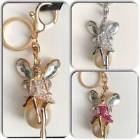 1 X Rhinestone Fairy  Keyring Keychain Bag Charm Pendant Gift Bling Crystal