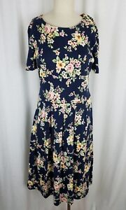 Vintage Talbots Petites Floral Pleated Jersey Knit Dress Womens PS Navy Blue