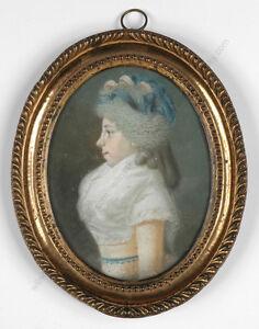 """Johannes Anspach (1752-1823) """"Fräulein Schultz"""", important pastel miniature"""