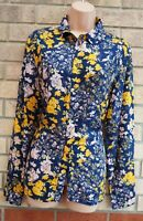 TU BLUE YELLOW FLORAL TOP NAVY BUTTONED LONG SLEEVE T SHIRT BLOUSE TOP 14 L