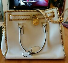 MICHAEL KORS LARGE WHIPPED HAMILTON TOTE WHITE GOLD CONVERTIBLE NORTH SOUTH