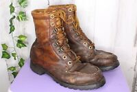 Vintage Moc toe Insulated Laced Brown Leather 9 1/2 9.5 Men's Ankle Boots