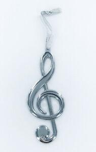 "Silver Treble Clef / G Clef Music Christmas Tree Ornament Decoration, 5"" Metal"