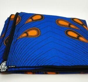 African Print Blanket Throw Ankara fabric Blue/Orange Black Fleece