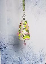 handmade christmas ornaments - pink and green - 2 inches - clay embroidered bell