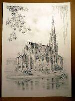 Kurt Hermann KÜHN (*1926) - Stuttgart - Feuersee mit der evang. Johanneskirche