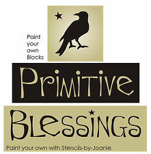 STENCIL Primitive Blessings Crow Star Country Shelf Sitter Blocks Family Signs
