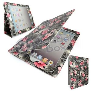CASE FOR APPLE IPAD MINI GREY AND PINK FLORAL DESIGN PRINT PU LEATHER COVER