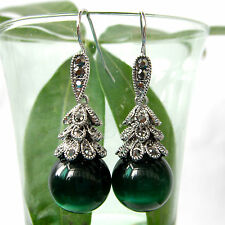 Navachi Vintage Silver-plated Tibetan Silver Green Stone Crystal Earrings BH1740