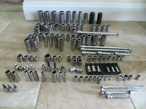 """LARGE LOT CRAFTSMAN SOCKETS & EXTENSIONS 1/4"""" - 3/8"""" - 1/2"""" DRIVE"""