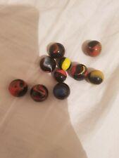10 BLACK Vintage Antique Marbles Handmade German Marbles Play Wear