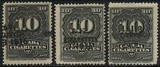 3x 1897 CANADA 10 Cigarettes Excise Stamp Tax Revenue Tobacco Black Cancels