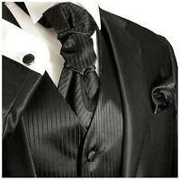 Men's Black Wedding Tuxedo Vest Set with Necktie, Cravat and Accessories