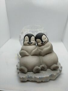Ceramic 'Polar Pals Cuddling' Tea Lite Holder  PartyLite Penguins open box