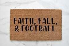 Fall Doormat Autumn Welcome Mat Football Outdoor Rug Faith - 18x30 & 24x36 sizes