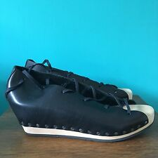Ladies Size 6 Eur 39 Black Leather Wooden Wedge Lace Up Shoes By Trippen