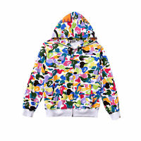 Men's A Bathing Ape Bape Colorful Coat Candy Camo Sweater Casual Hooded Jacket