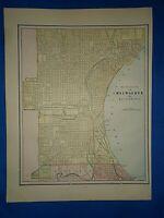 Vintage 1892 MAP ~ MILWAUKEE & BAY VIEW,  WISCONSIN ~ Old Antique Original