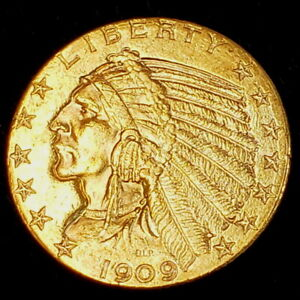 1909 D US American Indian Head Half Eagle Gold $5 Dollar Collector Coin 8IHE0906
