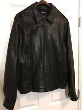 Nautica Black Leather Bomber Jacket 44 Large