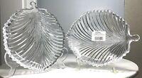 """Vintage Pair Mikasa Diamond Fire 8.25"""" Crystal Leaf Plate Dish WY247/915 MINT"""