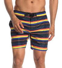 Scotch & Soda Strap Buckle Swim Shorts XL Black Multi Color Stripe NEW