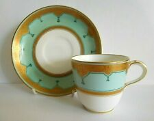 ANTIQUE MINTON COFFEE CUP AND SAUCER WITH TURQUOISE AND 22 ct GOLD DECORATION