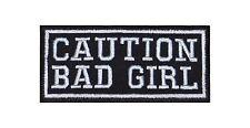 Caution Bad Girl Biker Patch Aufnäher Kutte Vest Naughty Devil Chick Motorcycle