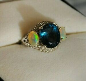 3Ct Oval Cut Blue Sapphire & Opals Engagement Wedding Ring 14K White Gold Finish