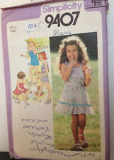 Simplicity 9407 - Child's 2pc. Dress or 2pc. Playsuit - Size 5