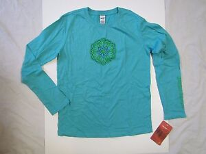 NEW MARMOT GIRL'S SPIN FLOWER GRAPHIC LONG SLEEVE TEE SHIRT BLUE SEA MED LARGE
