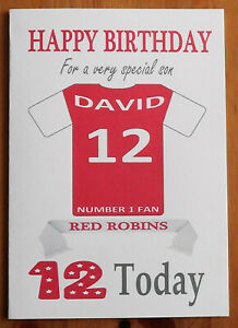 """CHARLTON FAN Unofficial PERSONALISED Football Birthday Card (""""RED ROBINS"""")"""