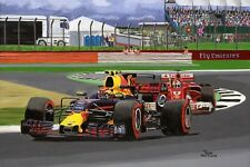 Print on canvas 2017 British Grand Prix, Verstappen vs Vettel! Toon Nagtegaal