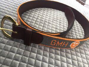 Vintage GMH Dan Place Needlepoint & Leather Belt 32