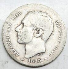 ESPAÑA ALFONSO XII 1885 MSM 1 PESETA MONEDA PLATA MBC-
