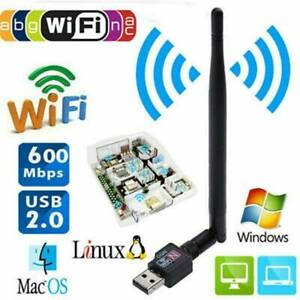 600Mbps Wireless USB Wifi-Adapter Dongle Dual Band 2.4G/5GHz w/Antenna 802.11AC