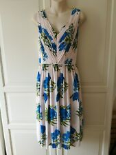 Boden A-line Dress Cobalt Blue Green And Pale Pink Size 12