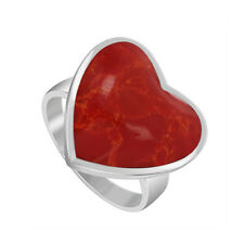925 Sterling Silver Coral Heart Solitaire Ring Size 4.5 -6