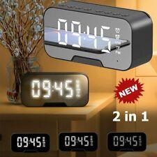 Spiegel LED Wecker Schlummerwecker Digital Alarmwecker Funk Uhr Tischuhr Radio