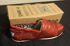 New Authentic Women Red Glitter Toms Shoes Size 6W - 6.5W