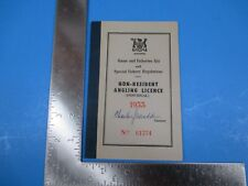 Vintage Non-Resident Angling License Ontario Canada 1953 Booklet S3722