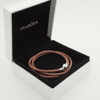 Rose Genuine Pandora Triple Woven Leather Bracelet (S925 ALE) 57cm (T2)
