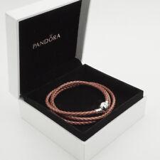 Rose Genuine Pandora Triple Woven Leather Bracelet (S925 ALE) 57cm (T2)